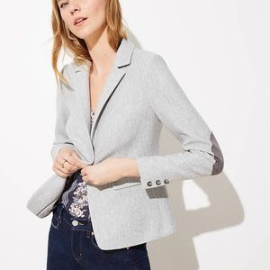 LOFT 4 Herringbone Knit Modern Blazer elbow patch